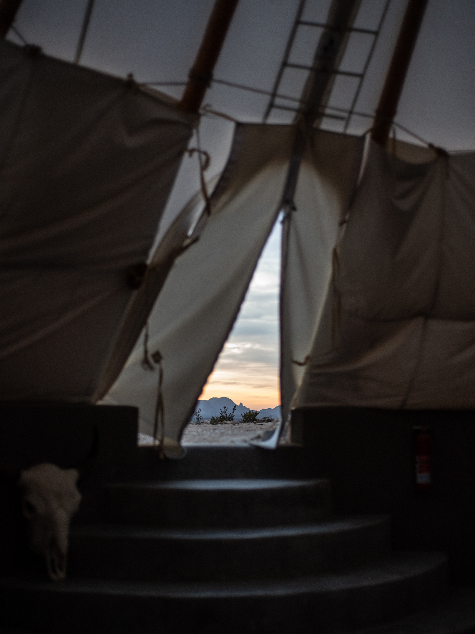 early morning in the teepee, terlingua, texas
