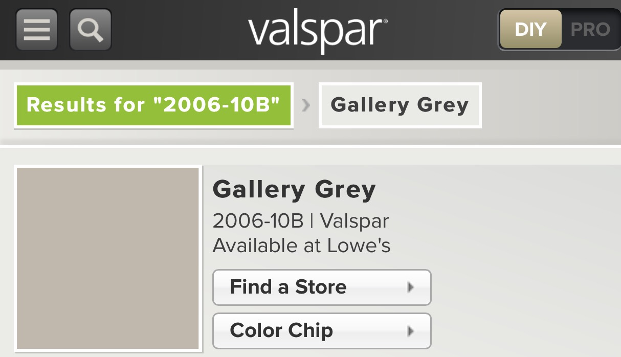 Valspar Paint- Gallery Grey available at Lowe's