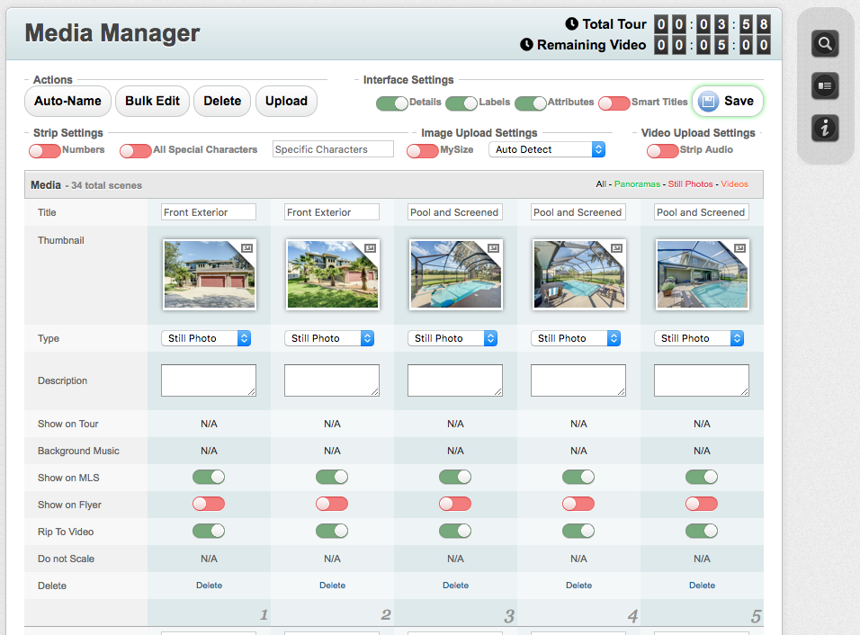 Screen shot of the RTV virtual tour management system.
