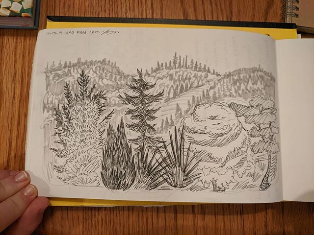 I'm counting this #oregon #landscape as part of #inktober, since I'm behind on the mcu movies. Drawn during one of my kids soccer games.