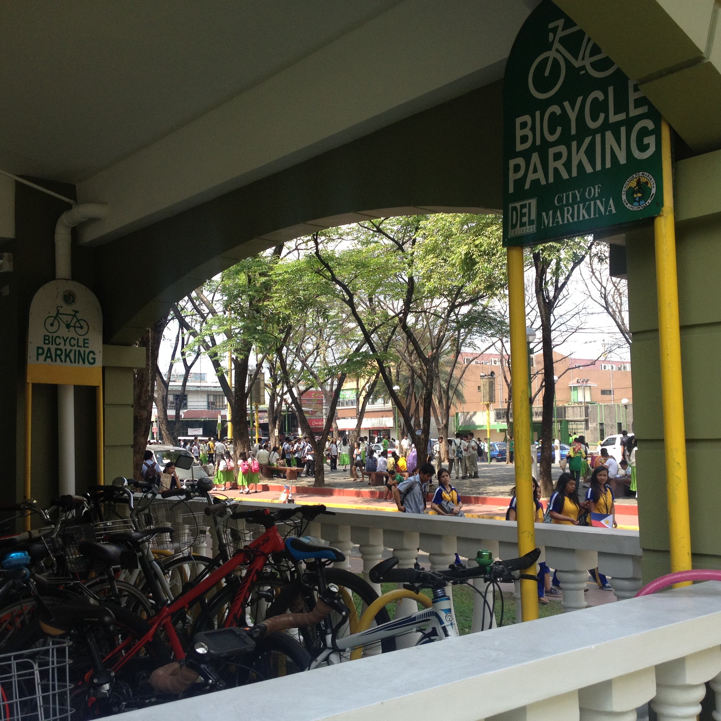 The bike parking at the City Hall. In front of the city hall is a plaza heavily patronized by the local student population from surrounding universities. Marikina seems to get the clustering of uses correct encouraging use of its public spaces.