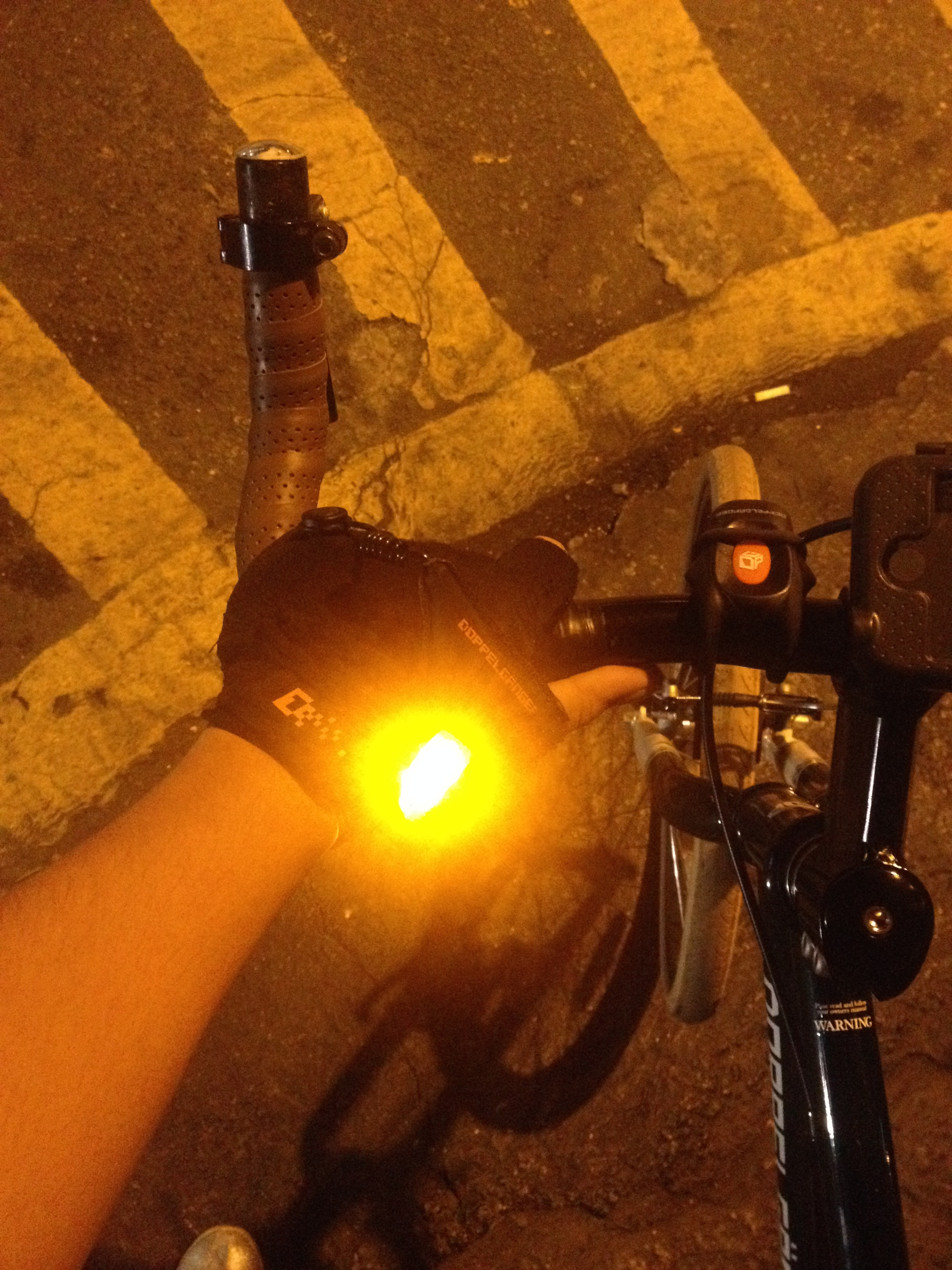 The gloves also come with lights on them for extra safe night riding.