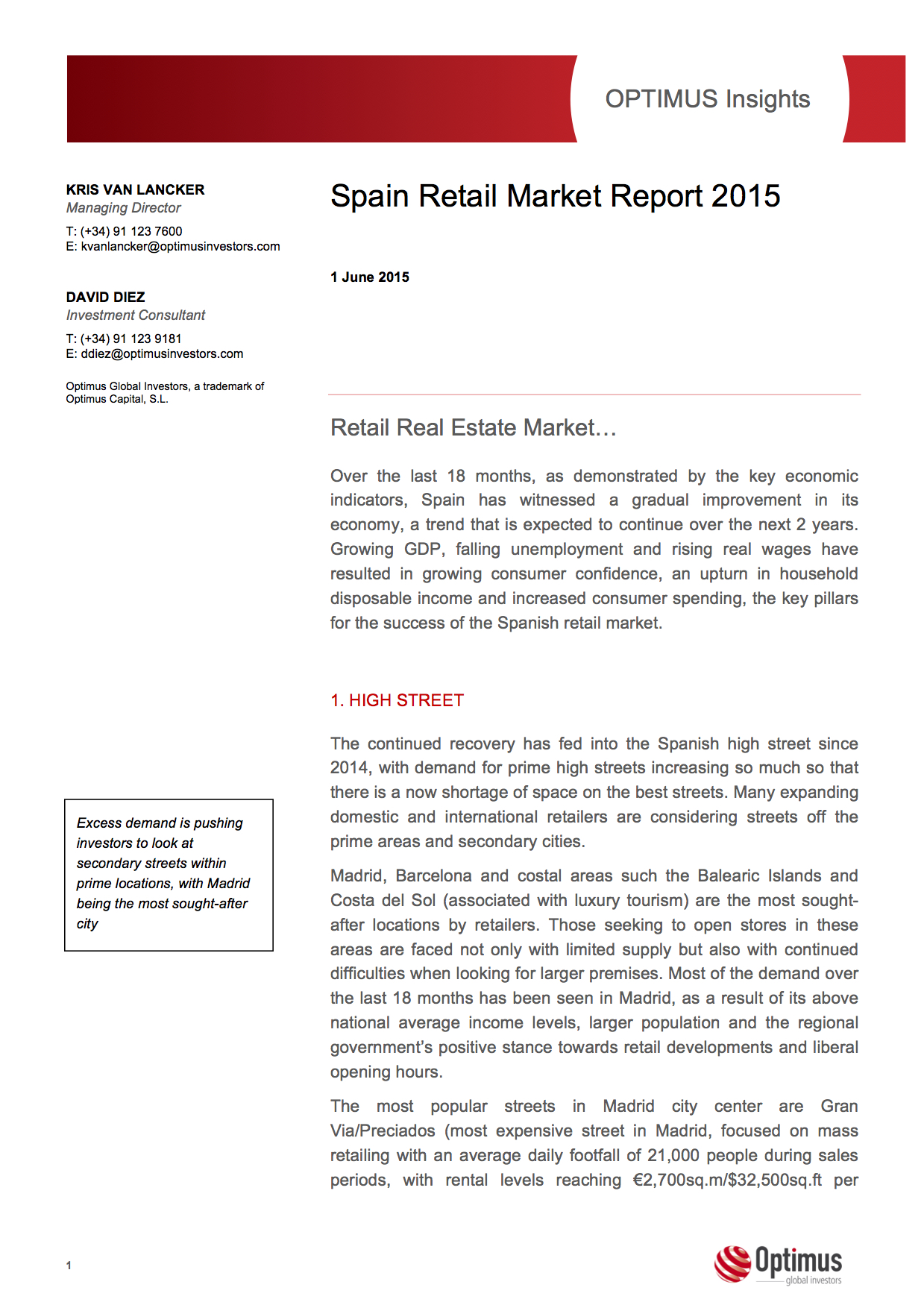 Optimus Global Investors - Commercial Real Estate and Alternative Investments in Spain - Retail Market