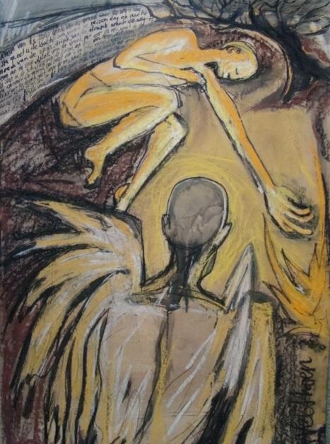 Bezoek van een engel op een moment van uitputting