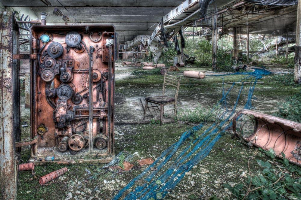 Lieux abandonnés - la filature Badin à Barentin - le bleu du fil