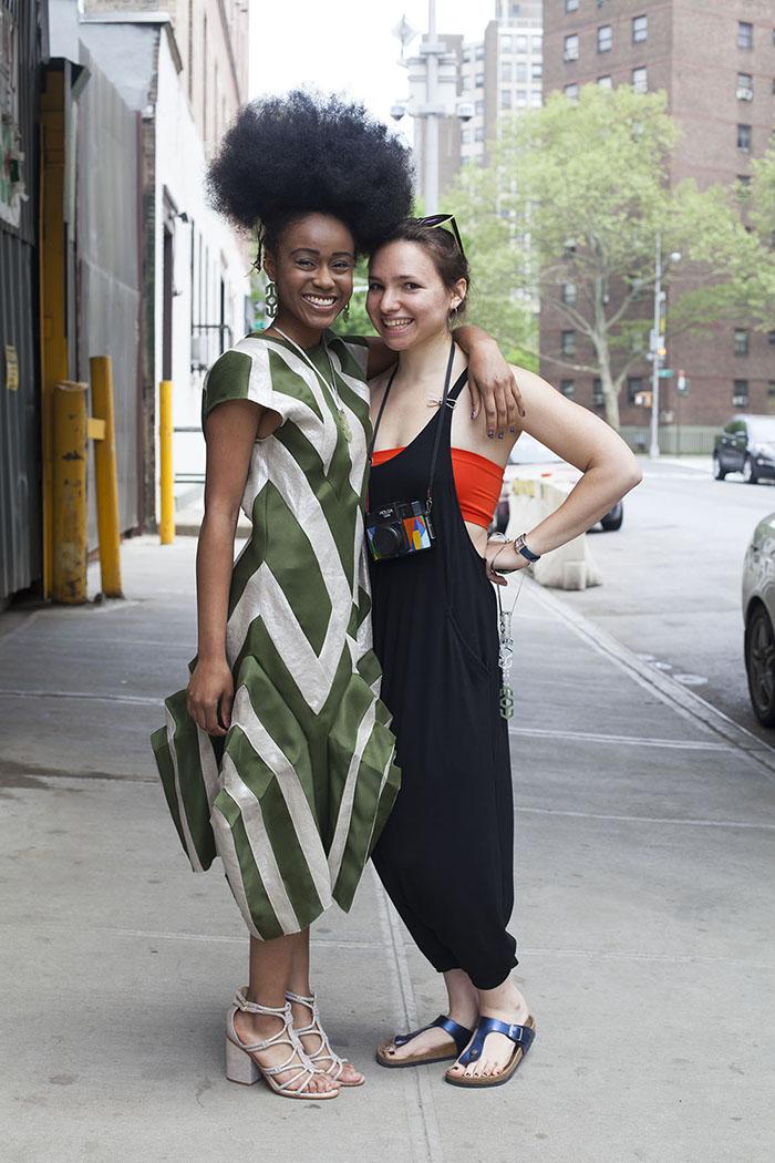 Ayade, muse, in a Silk Gazar & Metallic Linen Dress with Margo Isadora, designer.