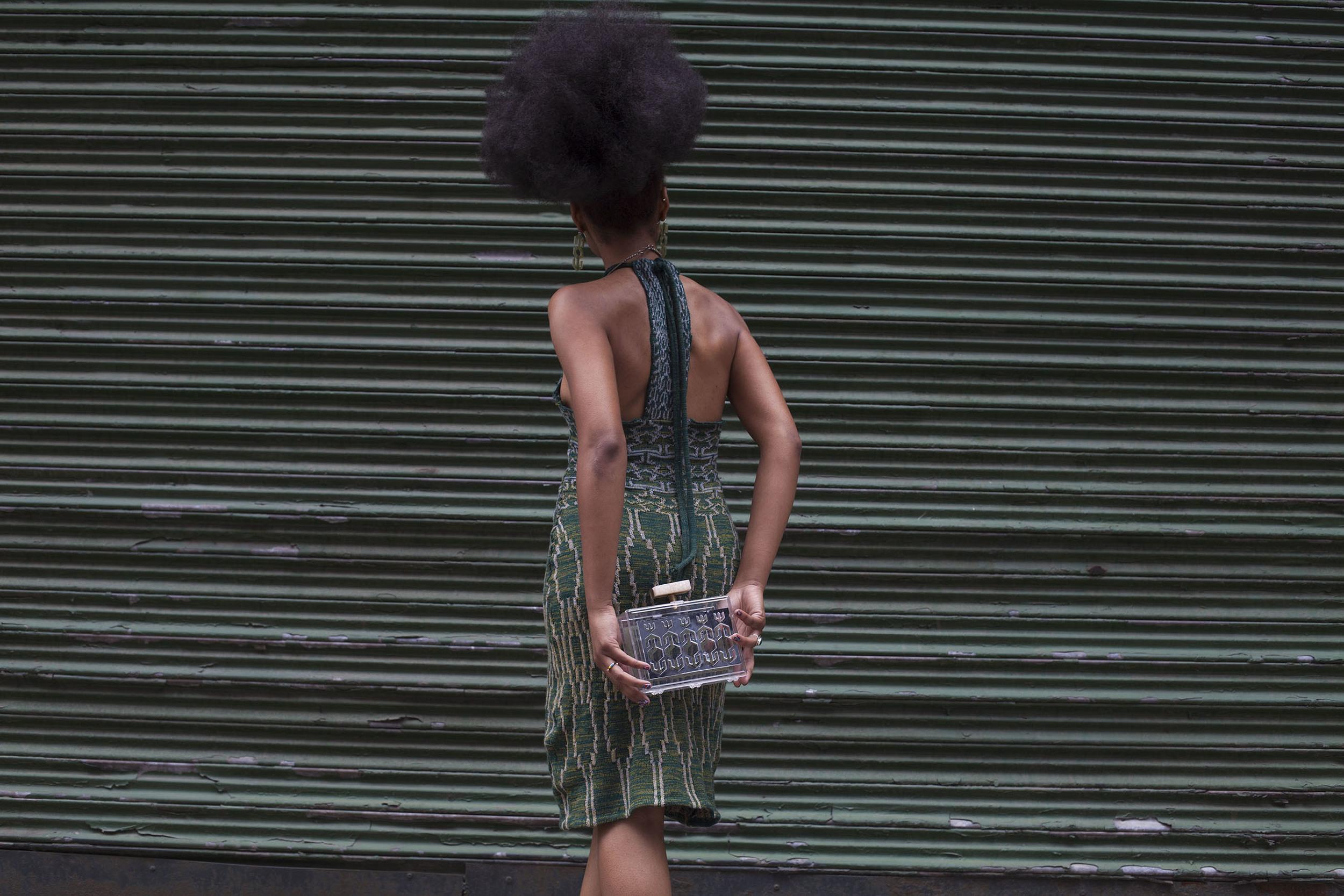 Merino Wool Machine Knit Jacquard Dress  Laser Cut Plexi Glass Clutch