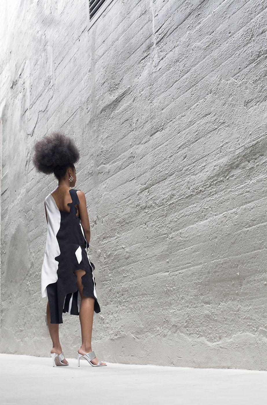 Laser Cut Ultra Suede Silhouette Dress