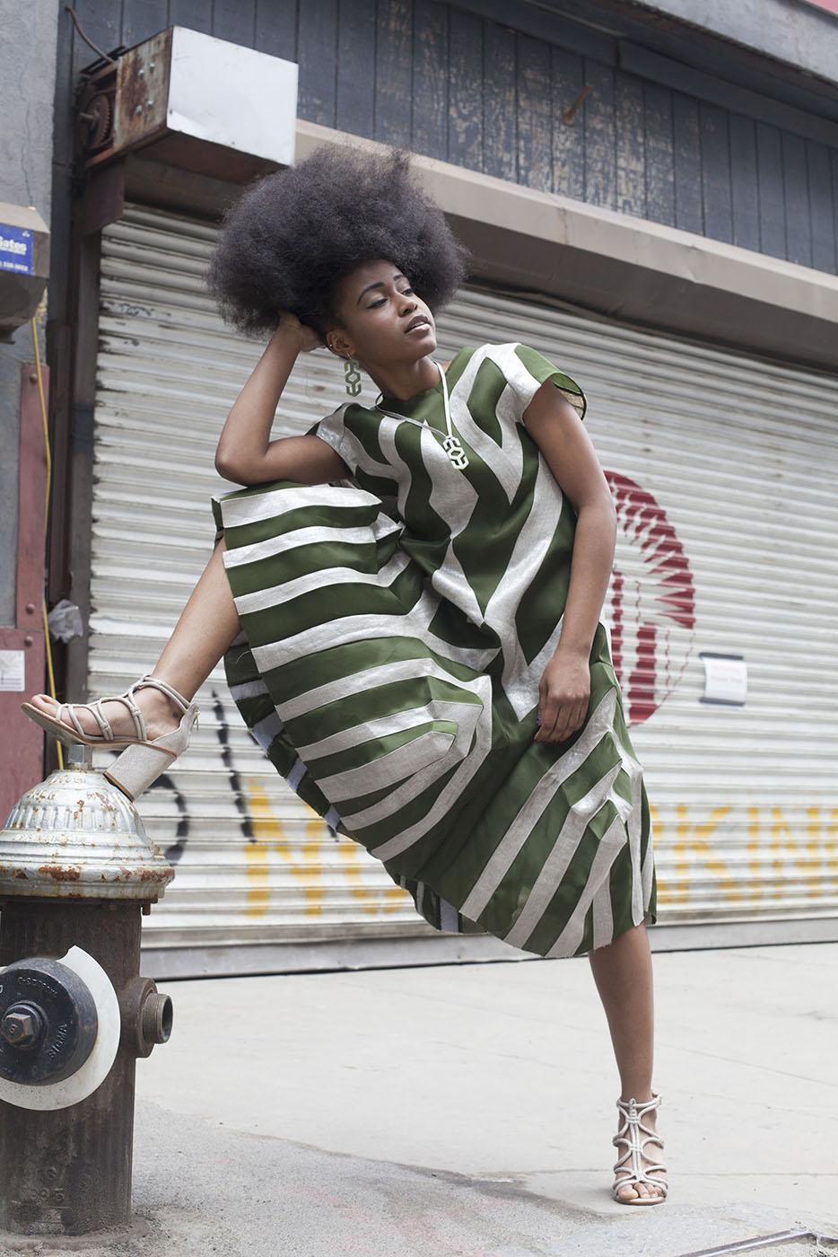 Silk Gazar and Metallic Linen Pieced Dress