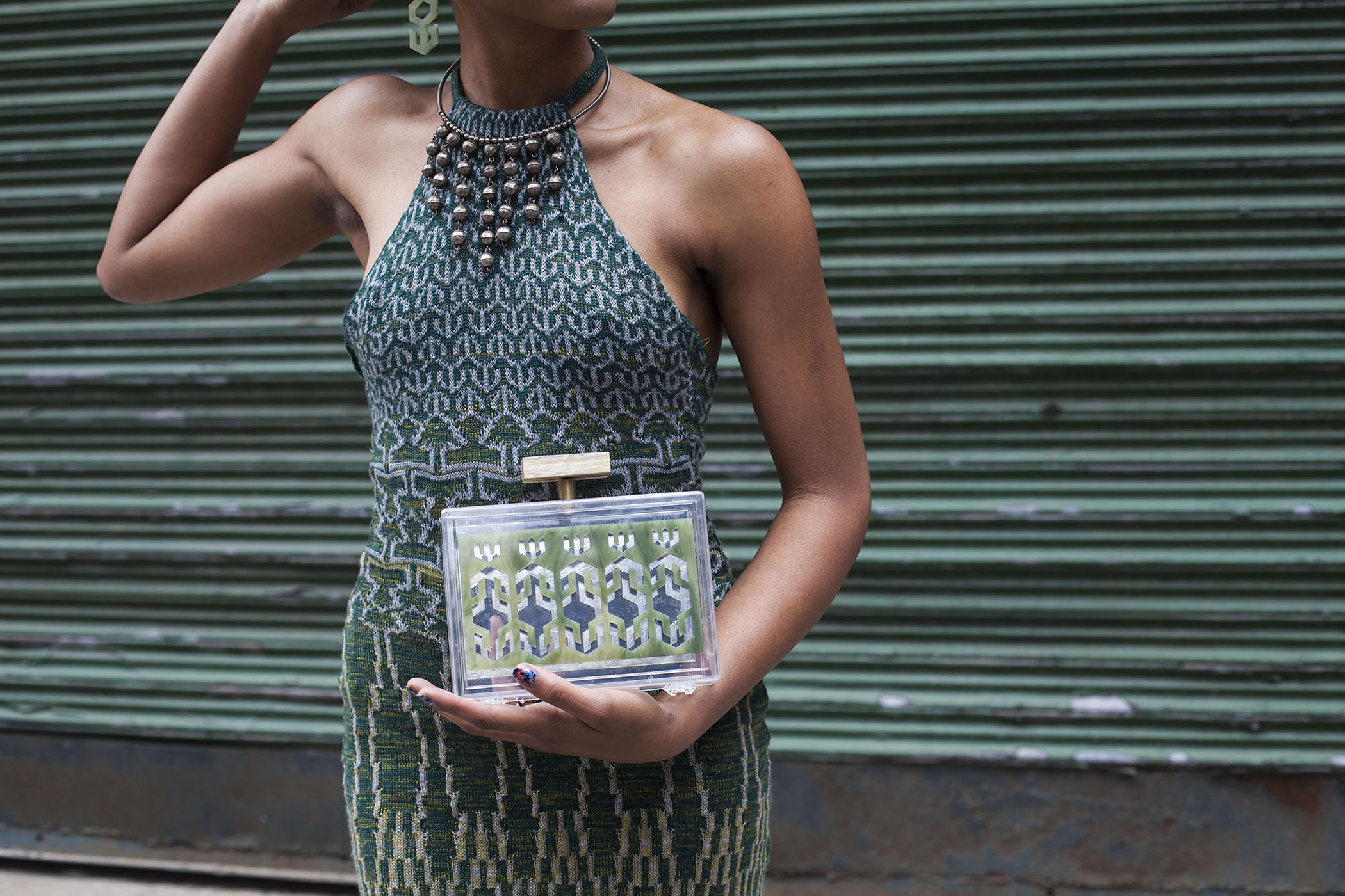 Merino Wool Machine Knit Jacquard Dress  Laser Cut Plexi Glass Clutch and Earrings