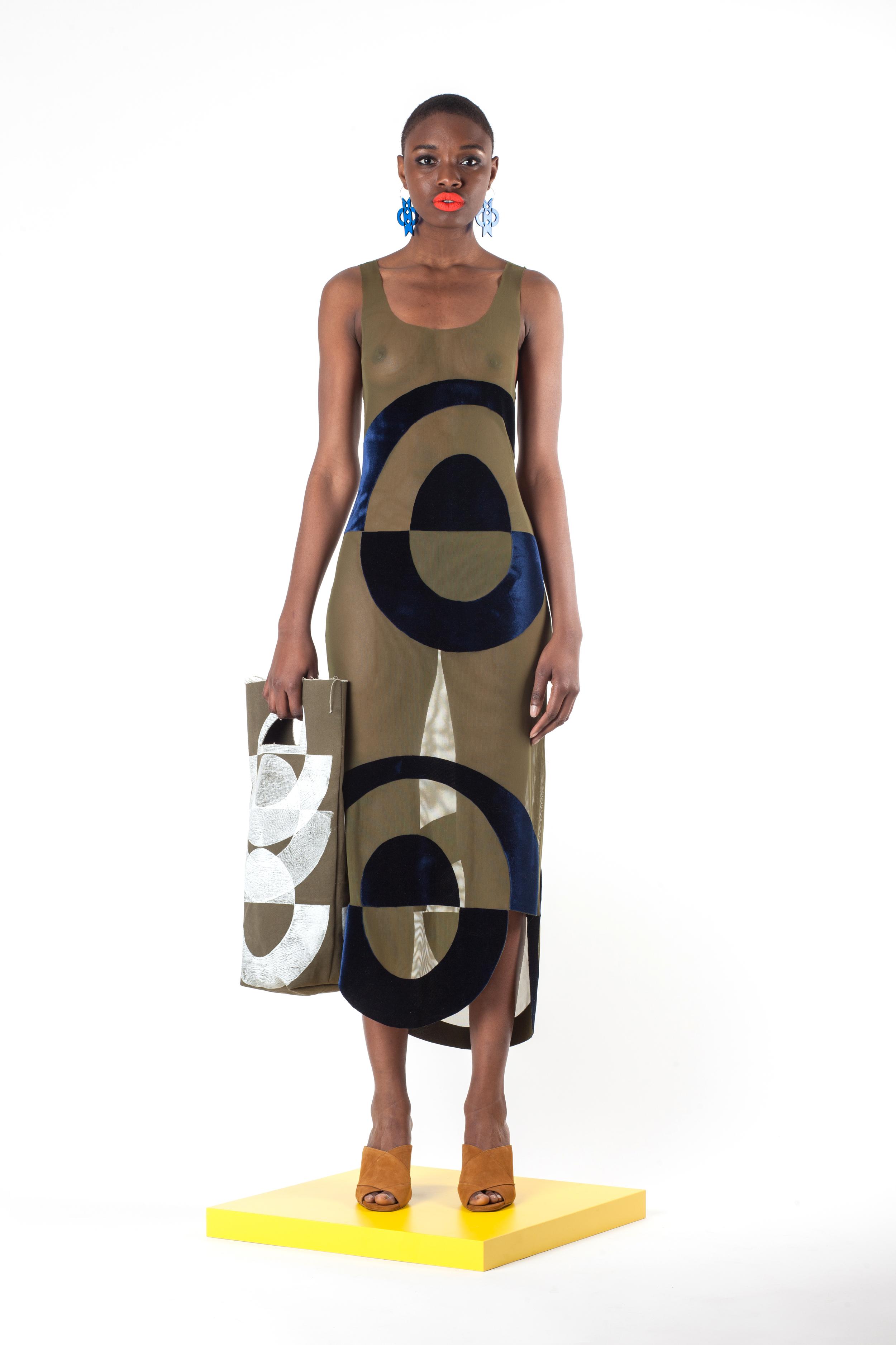 Sheer Velvet Appliqué Mesh Maxi Dress,Block Printed Canvas Tote, and Laser Cut Earrings