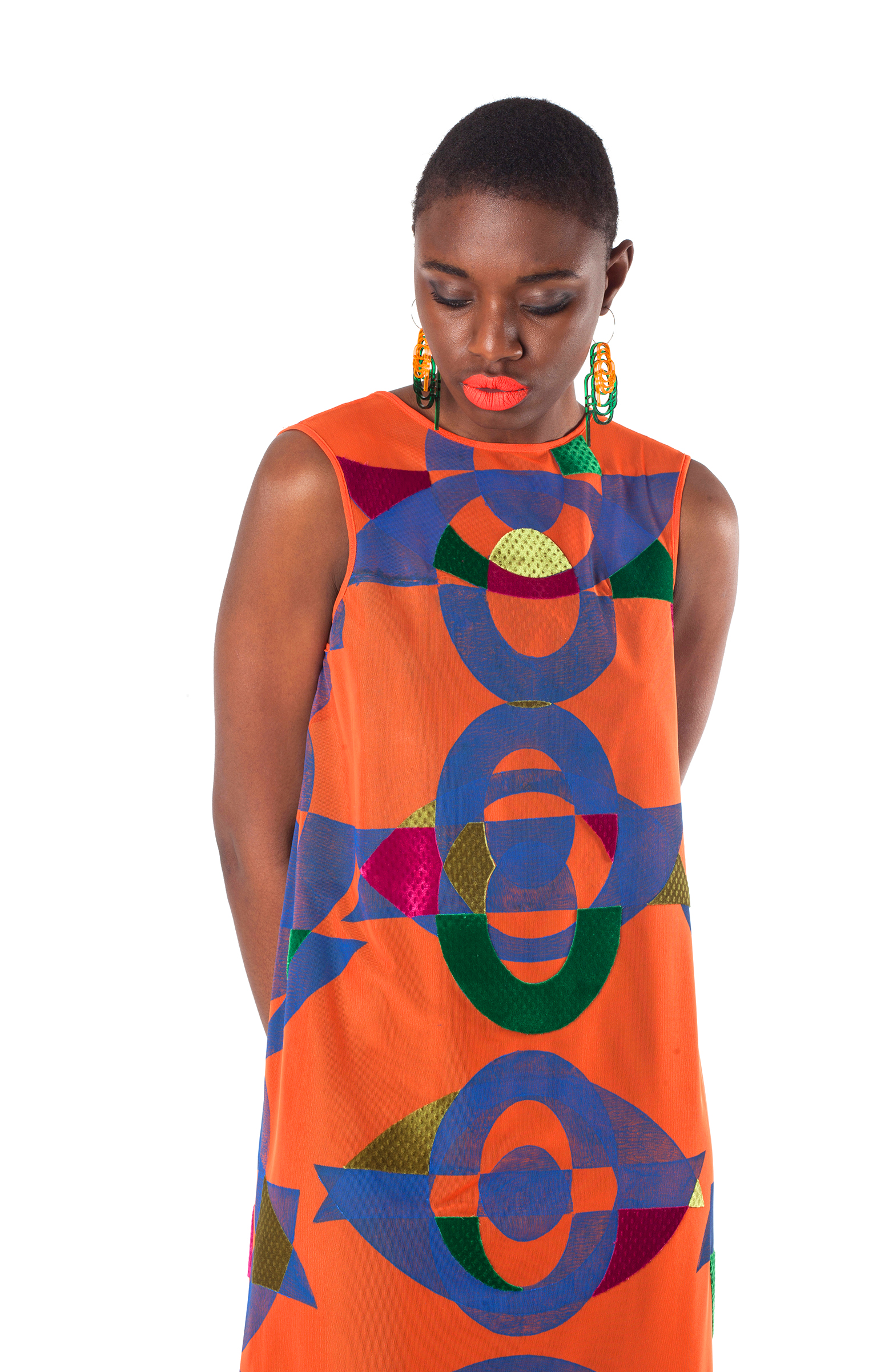 Block Printed and Velvet Appliqué Mesh Dress with Laser Cut Earrings