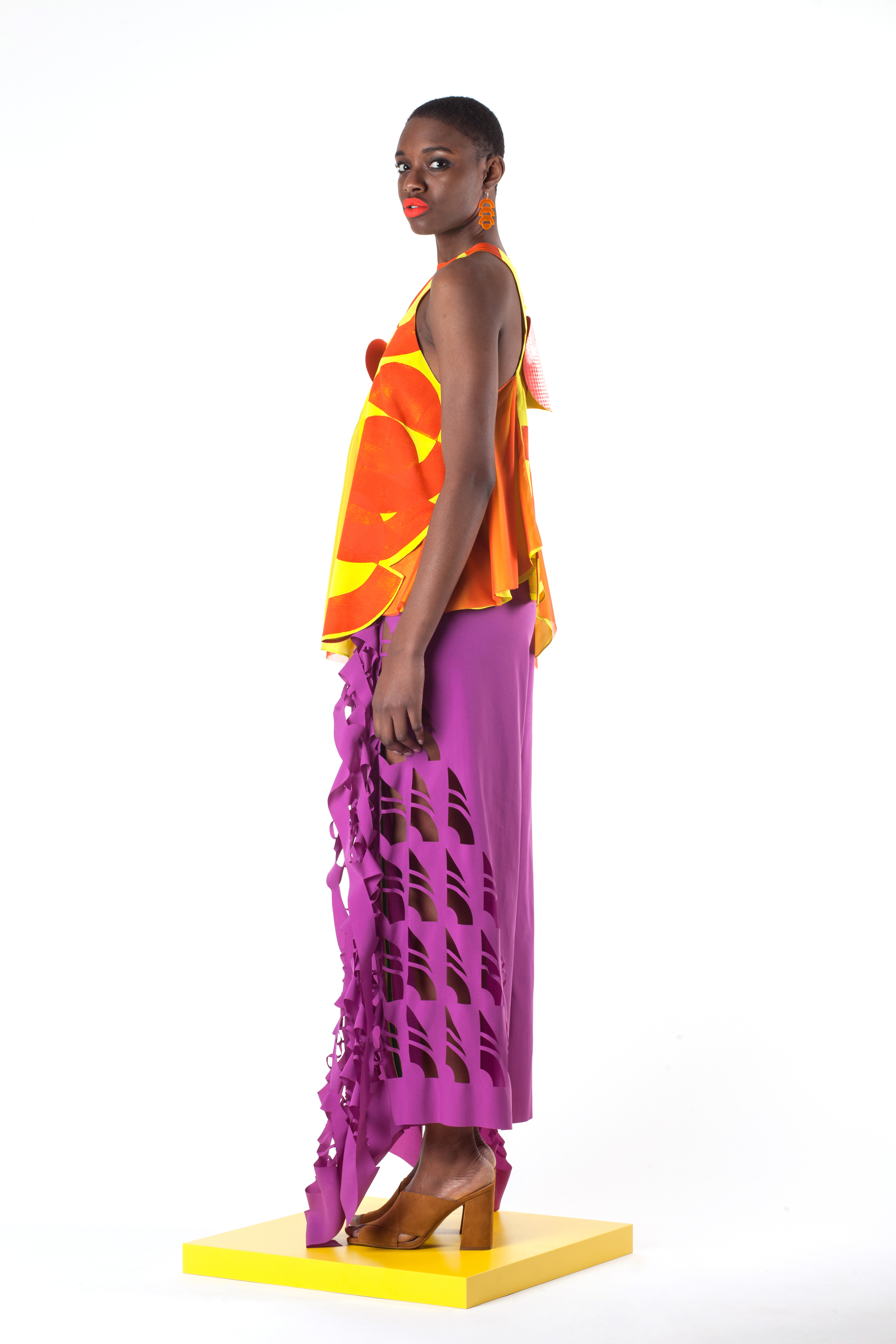 Block Printed Silk and Mesh Top with Laser Cut Nylon Extended Seam Allowance Pants