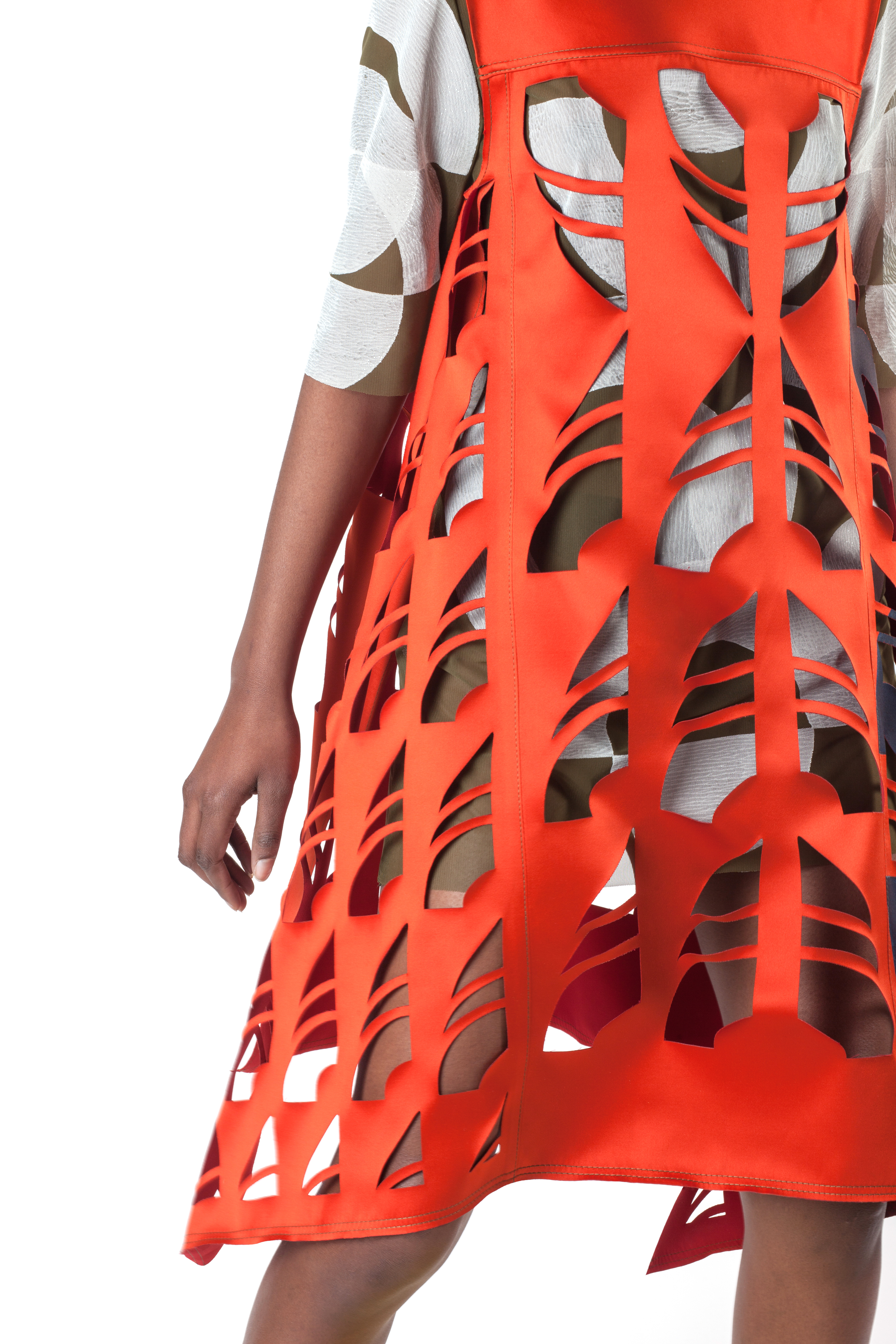 Block Printed Mesh Tee Dress under a Block Printed Laser Cut Double Faced Poly Satin Dress