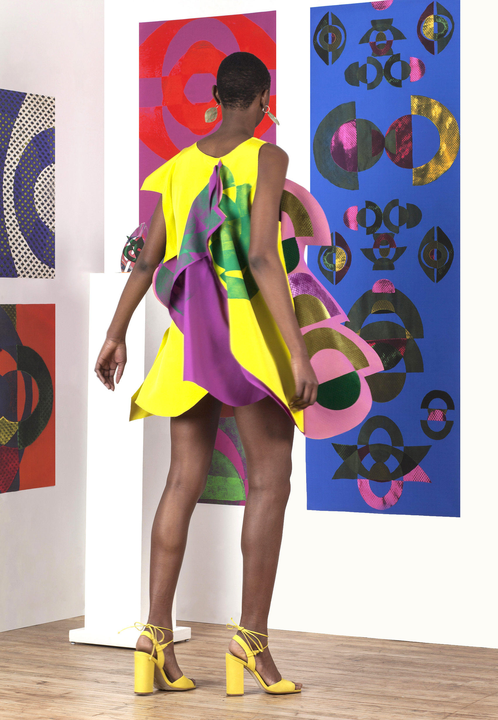 Block Printed and Velvet Appliqué 4 Ply Silk, Gorgette, and Nylon Dress with Laser Cut Earrings.