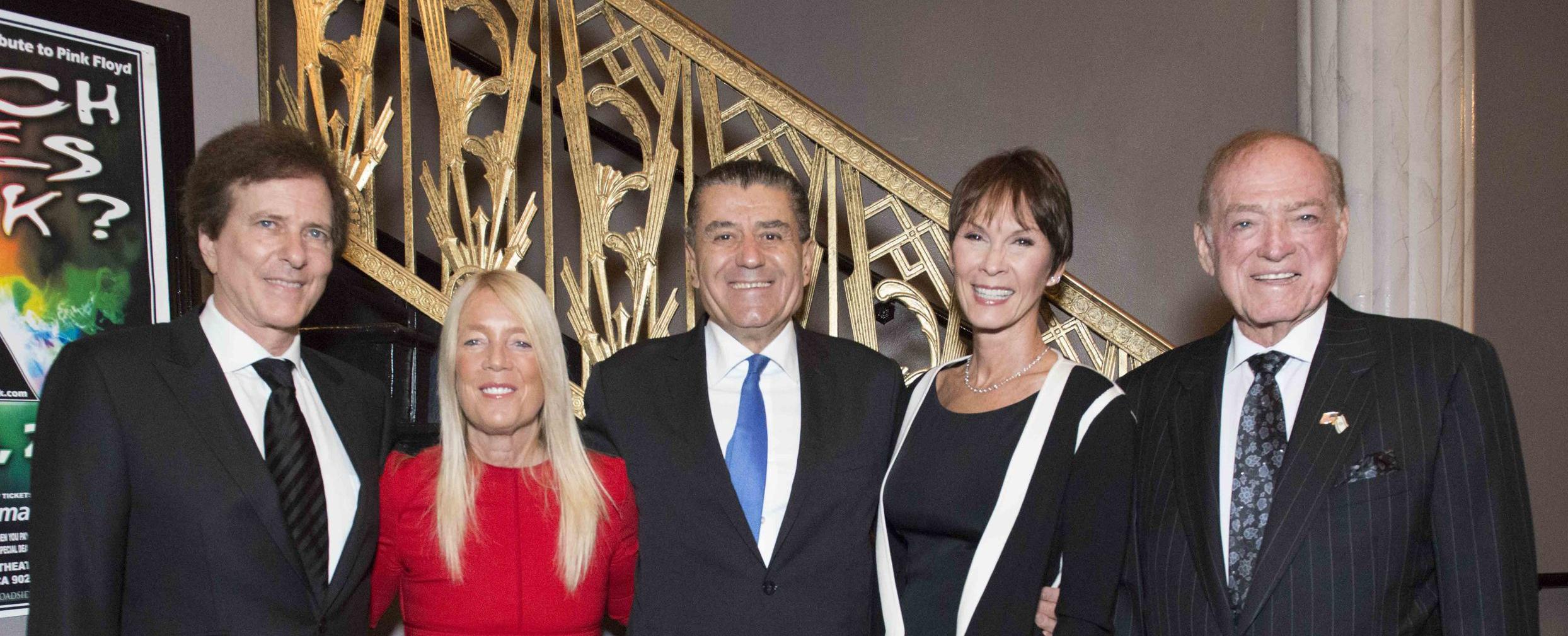 Featured in Photo (L to R):Rabbi David Baron, Mayor Lili Bosse, Haim & Cheryl Saban, Stanley Black