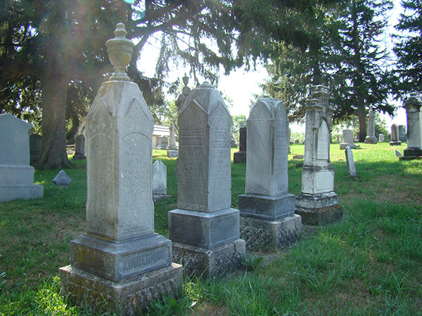 The Swiss Cemetery is located on the corner of 8th Ave and 6th St (Hwy 39), New Glarus