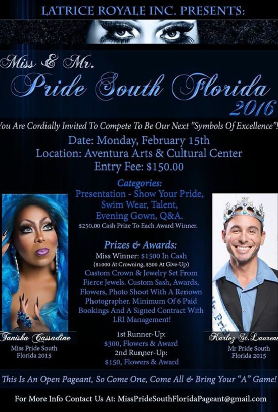 2016 Mr and miss pride south florida - Jeffrey Kelly and elishaly d'witshes