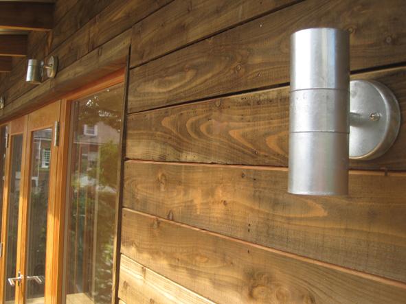 Garden Room - Sawn larch +galvanised light fittings