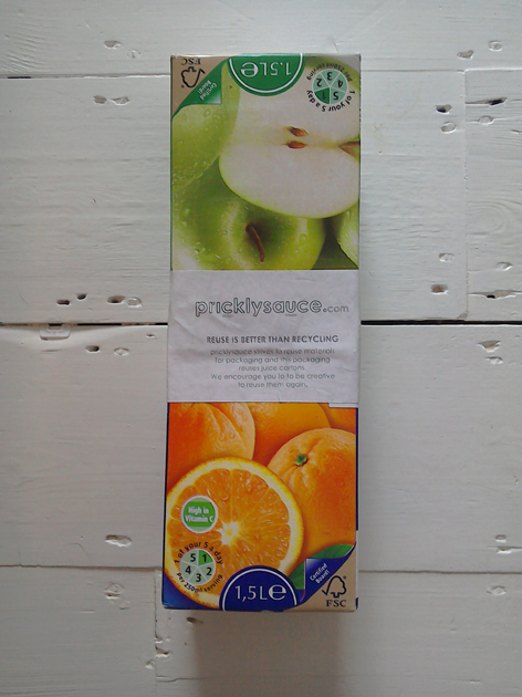 Reuse of orange juice cartons - strong and waterproof - to post a hangUp skate