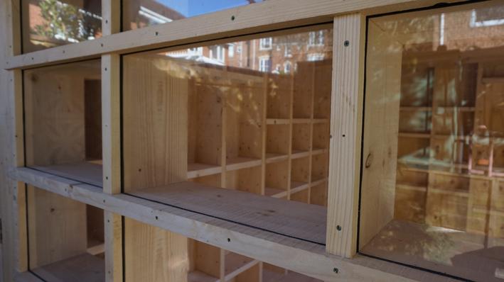 Garden Room - Scaffold board shed end window detail