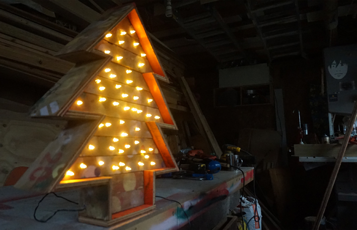 Mid-winter wooden Christmas tree