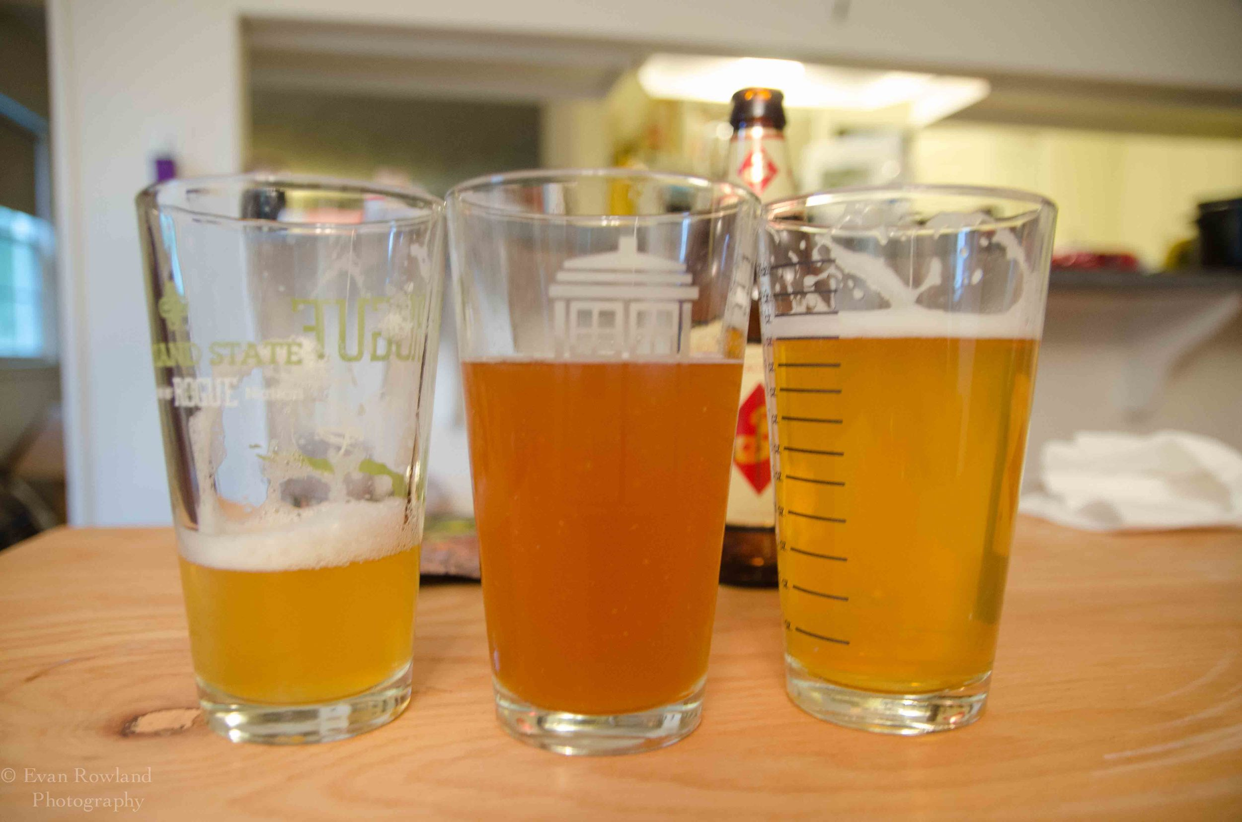 Large format sorachi ace on left, propose ale middle, 12 oz bottle right