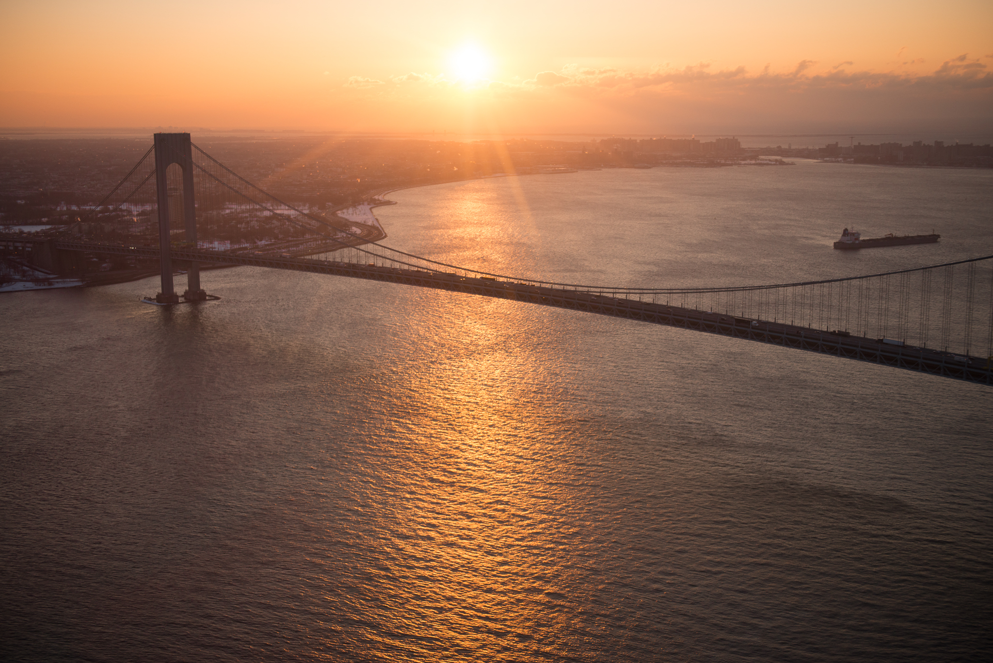 a sunrise flight to shoot down in NJ.  happened to get a nice shot of the bridge on the way down.