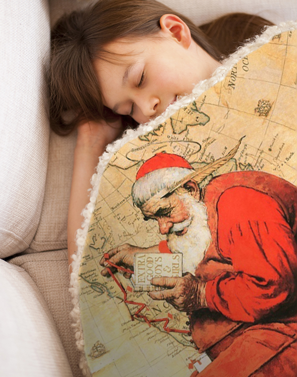santa at the map   by norman rockwell