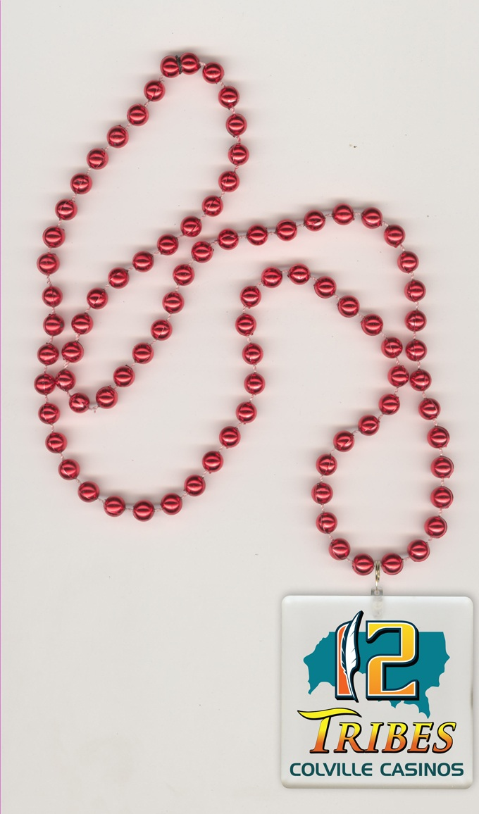 Square shaped LED Medallion on a 33 inch red round shaped bead