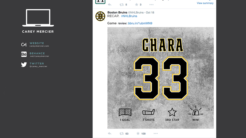 Mockup I included in Bruins interview process.