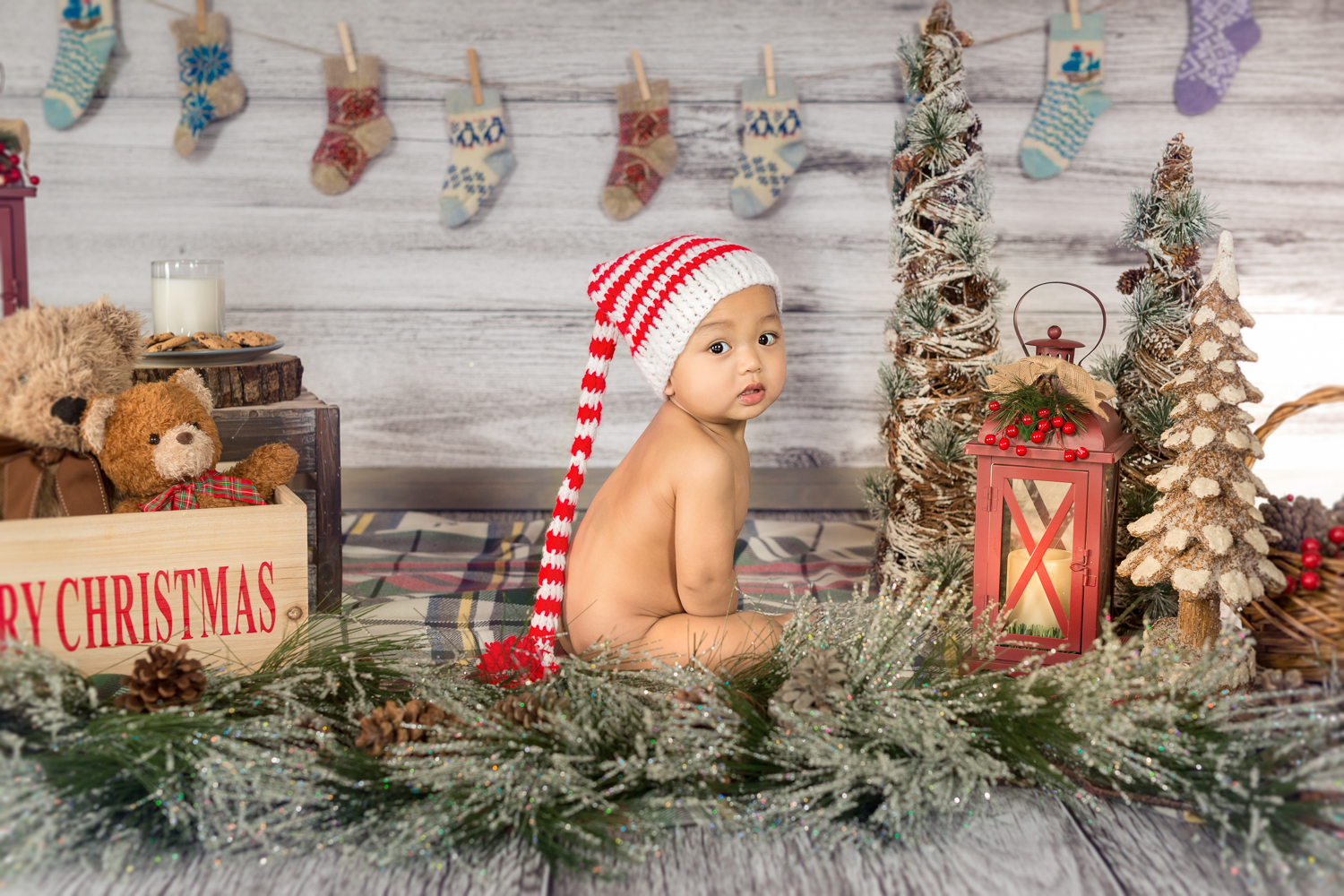 Baby ks as a little elf in my studio today