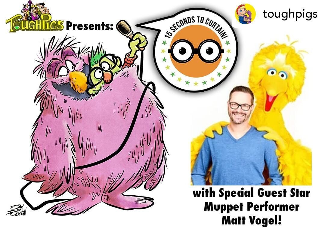 Posted @withregram • @toughpigs New podcast! In our season finale of #15SecondsToCurtain, we're joined by Muppet performer #MattVogel! We're talking about his long journey from Muppet fan to taking the reins of Kermit the Frog and Big Bird (and yet, still a Muppet fan). Enjoy!