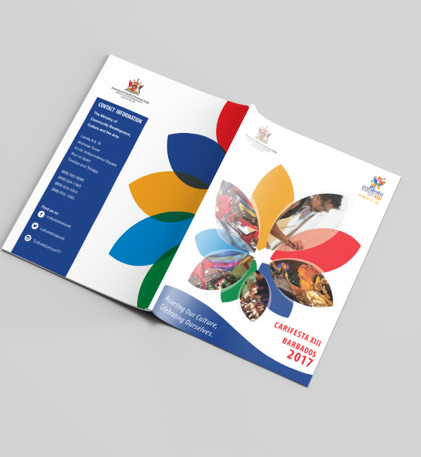 CARIFESTA XIII Booklet - Client: Ministry of Community Development, Culture and the ArtsDescription: Design and Layout of a Booklet for the Trinidad contingency to Barbados for the celebration of Carifesta XIII 2017. The client wanted a clean yet bold feel. Using the colours and shapes reflected in the Carifesta XIII logo we came up with a geometric floral design that grounds this booklet throughout. Year: 2017Photography provided by the client.