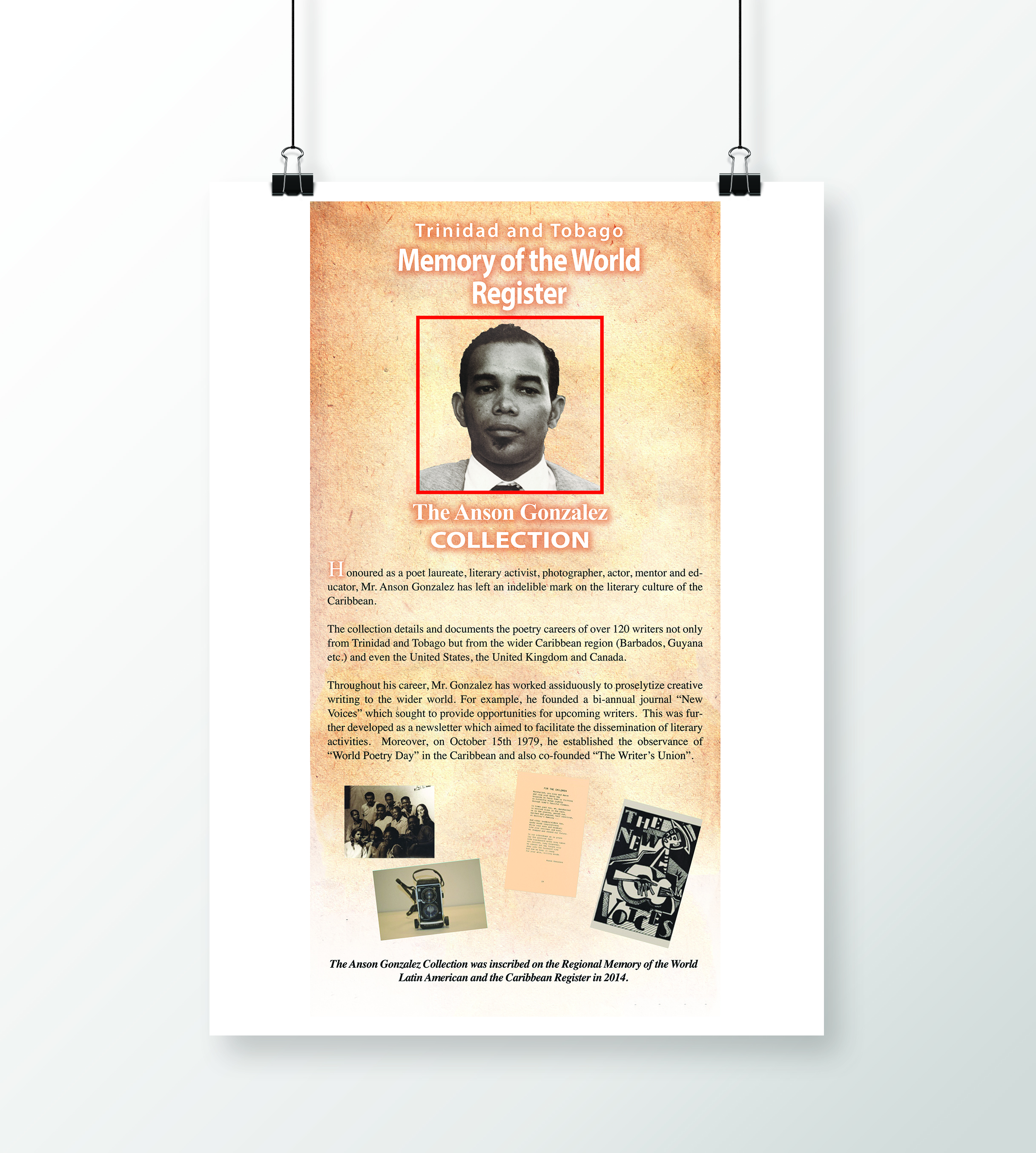 Memory of the World Register Exhibition - Client: Trinidad and Tobago National Commission for UNESCODescription: Design and Layout Large Posters for an Exhibition on the various local collections of the Memory of the World Register. Client requested an