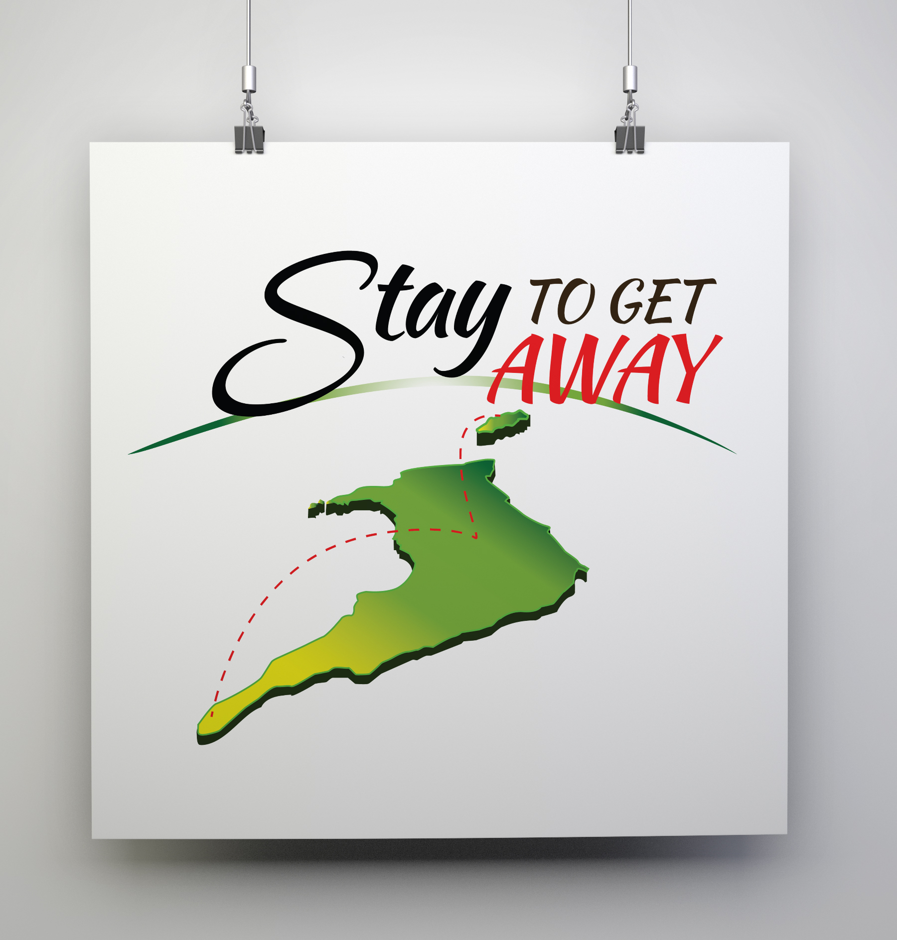 Stay to Get Away 2016 Logo - Client: The Tourism Development Company (TDC)Description: Design a logo for the 2016 Stay to Get Away Campaign. Client requested a simple logo that reflected the nature of the campaign as a domestic tourism campaign. Logo uses a combination of nationalistic colours along with yellow and green as a complimentary pop of colour, engaging the viewers attention. The fonts used are relaxed yet engaging.Year: 2016