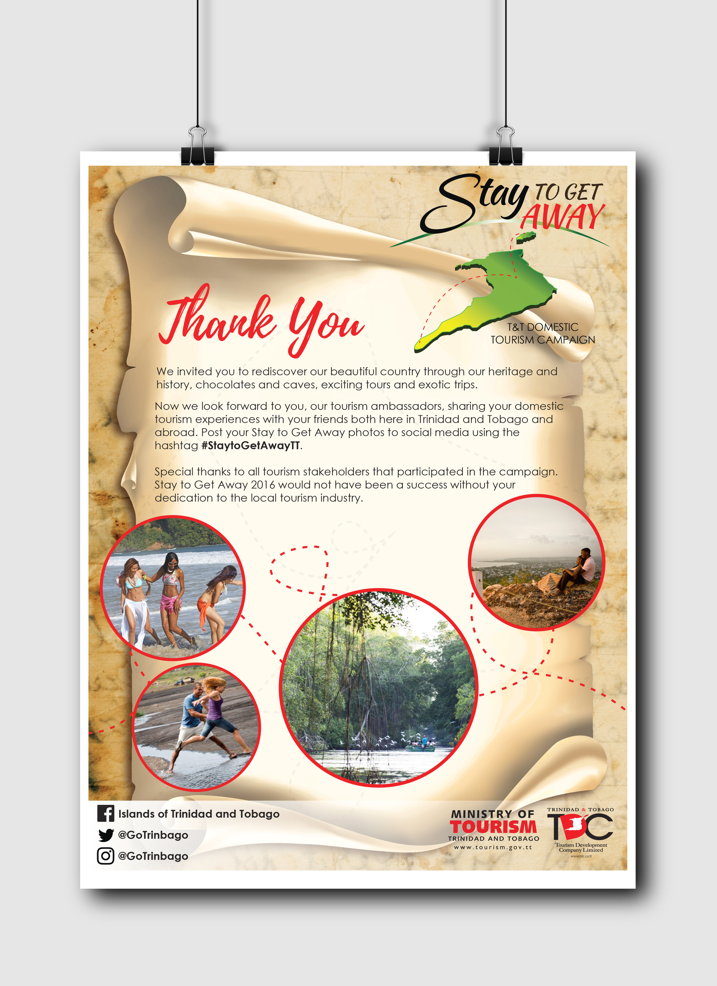 Stay to Get Away Thank You One page press advertisement - Client: The Tourism Development CompanyDescription: Design a Thank You ad to the public for their participation and engagement in the 2016 Stay to Get Away campaign. This design continues with the