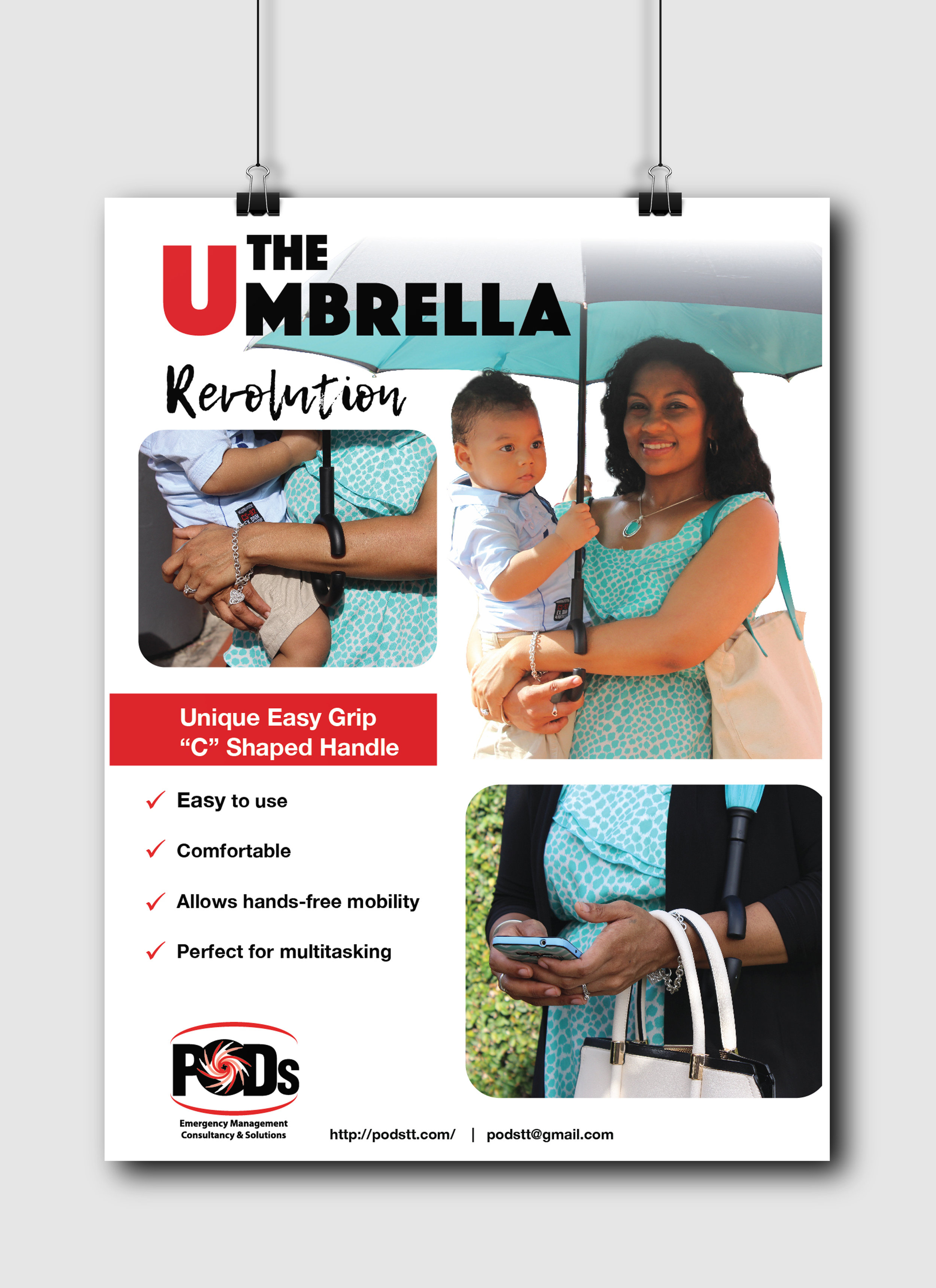 The Umbrella Revolution Flyers - Client: PODSDescription: Design and Layout four (4) flyers for the promotion of the newest product by PODS. Client requested a very simple, clean design with clear photo imagery of the product and its use as well as brief, clear, informational points.Year: 2017Photography provided by the client.