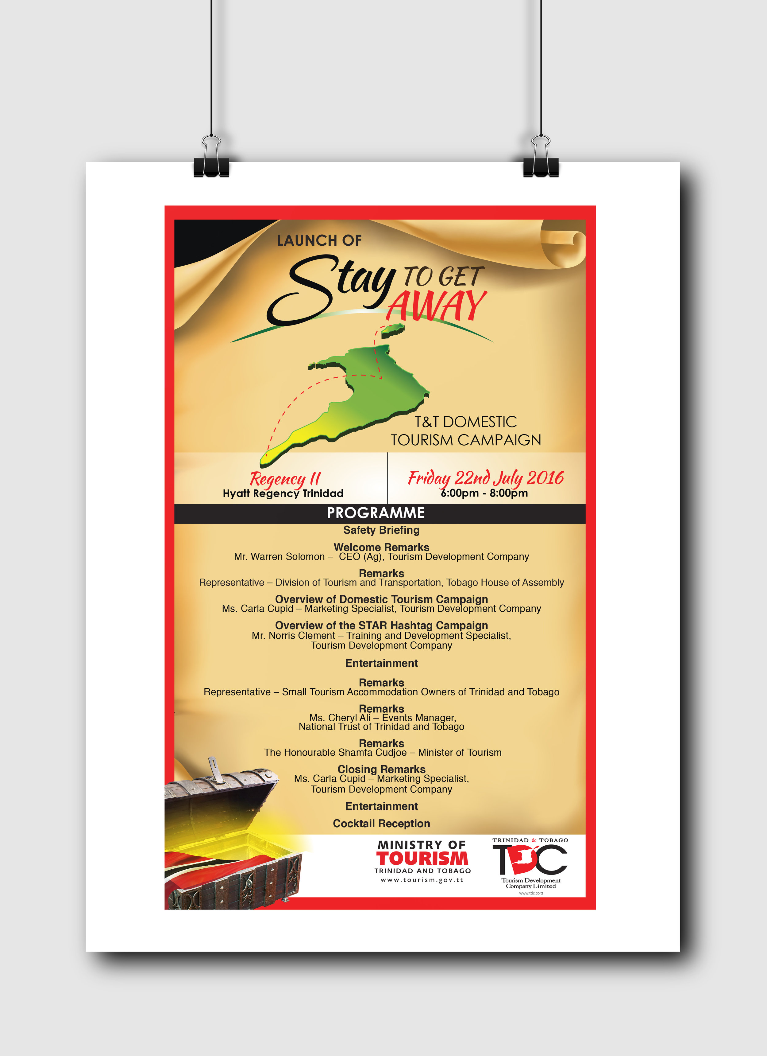 Stay to Get Away Launch Programme Card - Client: The Tourism Development CompanyDescription: Design a programme card for or the launch of the 2016 Stay to Get Away campaign. This design uses an