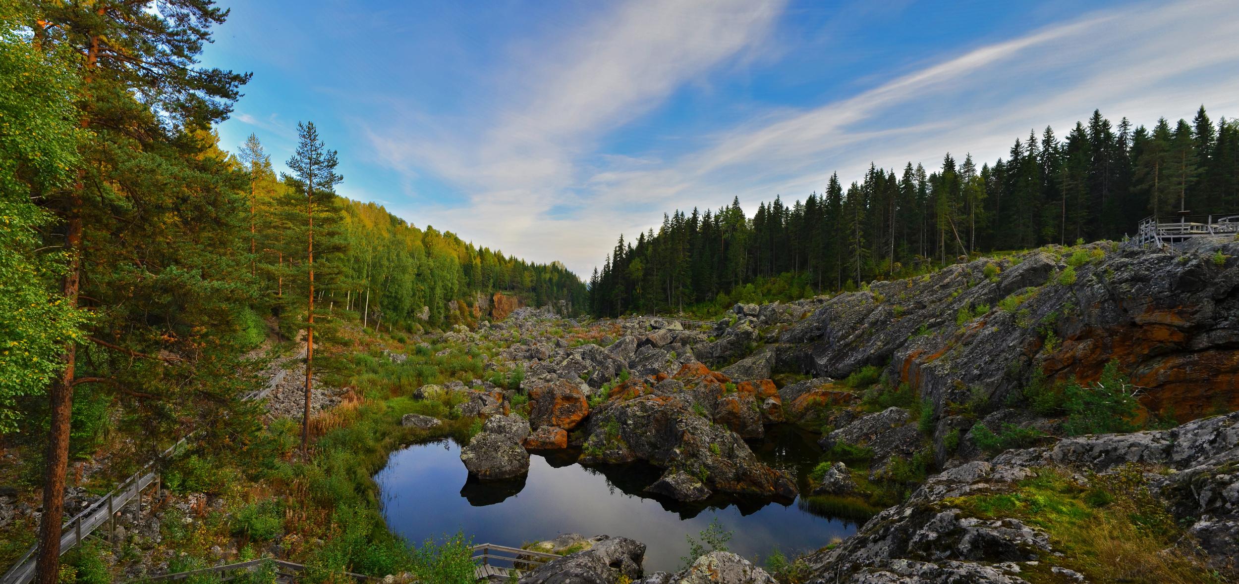 Panorama of Doda Fallet, Sweden.