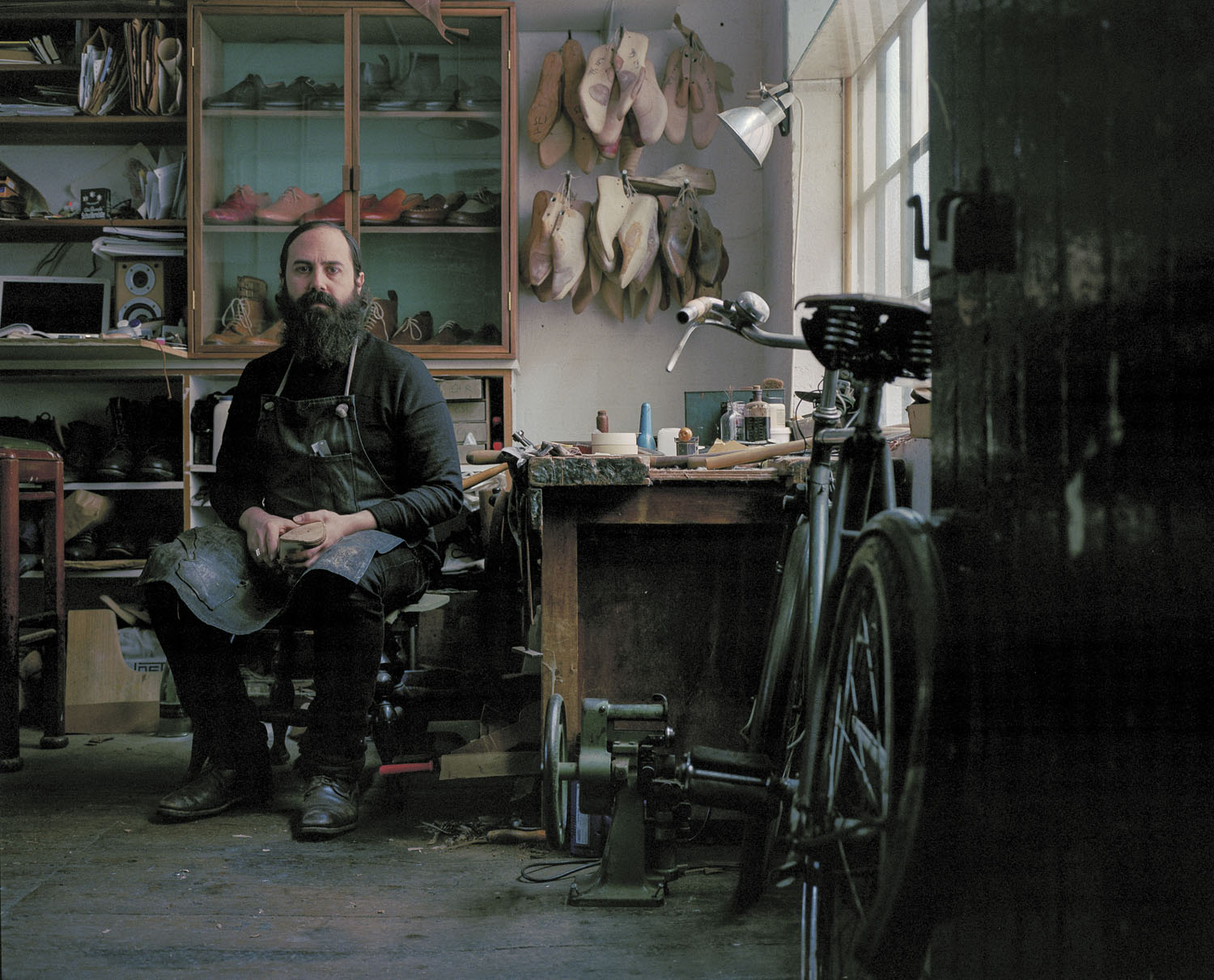 Sebastian Terek is a shoemaker based in London. Shoe making has been in his family for 18 generations and he uses strictly traditional methods to create bespoke shoes in his workshop in Hackney,London.  Photographed for Rapha