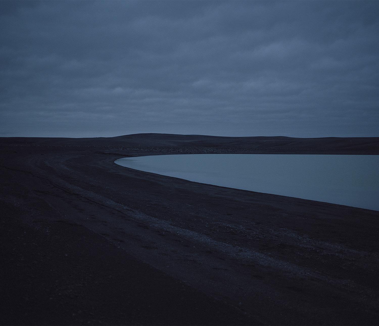 Glacial lake, black sands
