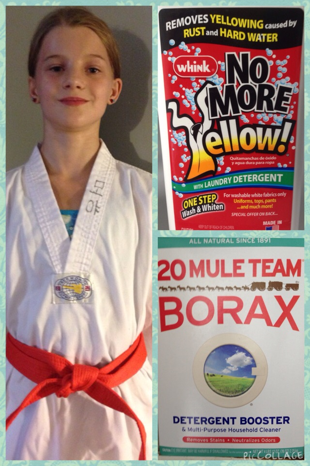 After much research & many product trials this is my secret.  Whink makes No More Yellow with Laundry Detergent that took the yellow right out of the Tae Kwon Do uniforms.  I had a white flannel night gown that had been yellow for years & Whink made it white again.  I use the Whink product on whites about every 3rd or 4th washing.  Every load of laundry gets a half a cup of Borax.  Borax evens out the PH balance in well water which helps cut down how quickly yellow builds up.  Arm & Hammer makes a washing soda that does the same thing & is cheaper, but Borax doesn't clump up like the washing soda.