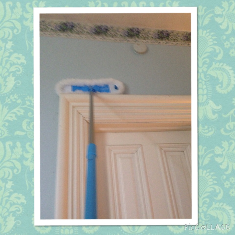 Flexi-Edge Floor & Wall Duster from ecloth.com.  This little helper has an extender for little ole me.  You can wash the head & it only costs $24.99.