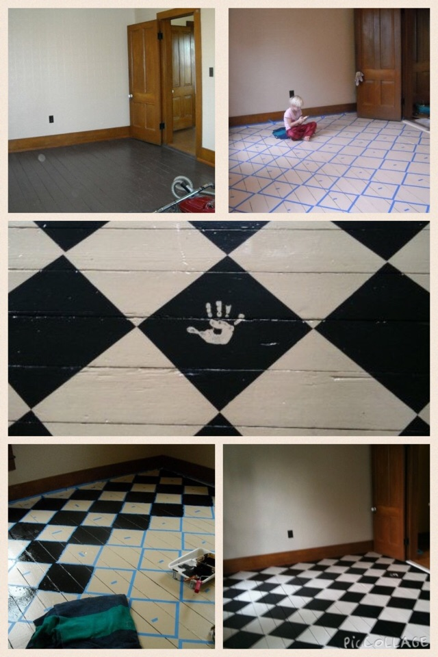 Painting a floor! I didn't go simple I decided to do a checkerboard pattern on a diagonal.  It isn't perfect, but brings the character of the old pine floors out.  The middle picture is our daughter, Moya's, handprint, which is at the entrance.  I am extremly proud that my husband uses that as a background for his business cards, Mendota office sign & on his business web site for Forest City Behavior.  He works long hours serving the Developmentally Disabled population in Illinois & Wisconsin.  So it was my pleasure to upgrade his home office.