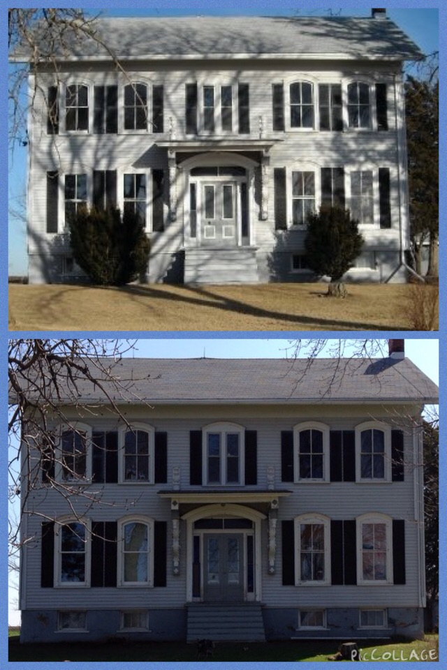 Top picture with bushes & old living room windows.  Bottom picture without bushes, but new living room windows & no storm windows.  We are waiting for Moya's new windows, which will be on second story right side.