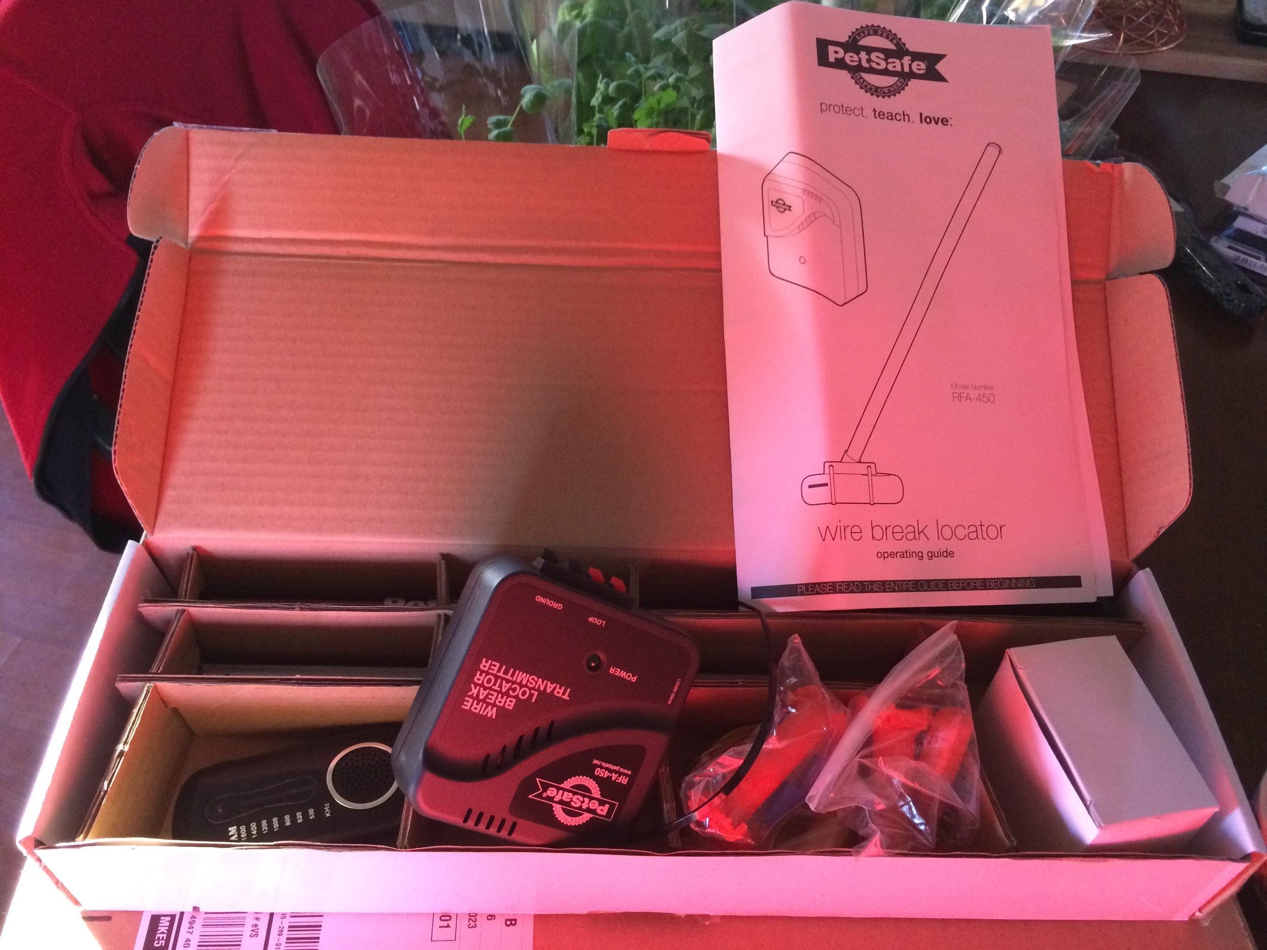 Wire Break Locator kit as it comes in the box