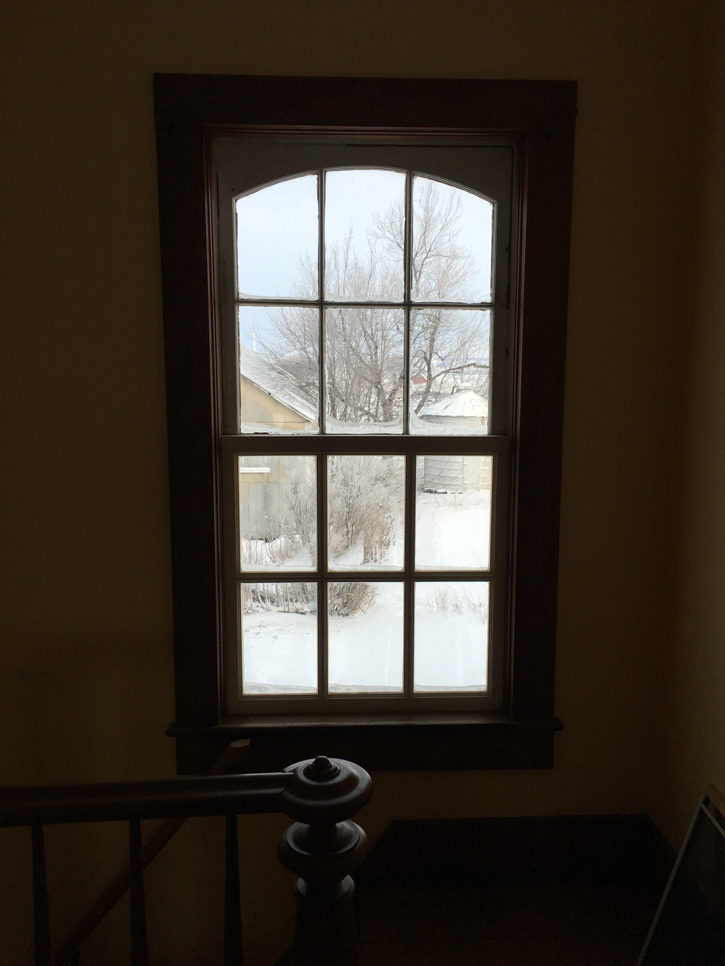 The back windows in the house have six-panel divided lights on top and bottom.  The bottom sash in this picture is not original to the house.