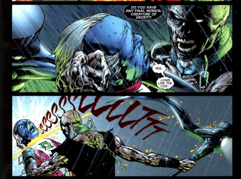 "Of course, at first glance this seems like anything but a hopeful moment. The creature being slain is a Guardian, one of the immortal beings that oversee the green lantern corps. Killing him is a brutal blow to the morale and fighting power of the green lanterns, especially considering that his final words are cut off mid-sentence. The spilling of his blood also triggers the rising of The Entity, finally fulfilling Nekron's ultimate goal. This is the All Is Lost Moment, the moment in which the villain's plan is coming to fruition, in which death is displaying its most fearsome prowess and about to claim final victory.  However, a closer reading of the panel and its place in the narrative reveals something far more interesting and hopeful. After all, the final two letter of the words ""corps"" are silent. Saying ""cor-"", then, is functionally identical to saying ""corps,"" and both the other characters in the comic and those of us reading it aloud in our head actually hear the full word. In saying ""long live the cor-,"" before being killed, in other words, the Guardian has, for all those both within and without the world of the comic, actually completely his sentence and managed to deliver a stirring affirmation of his support for the green lantern corps even in the face of the reaper (complete with scythe-power ring for ease of recognition). When we consider how easy it would have been to cut the word off at ""co-"" instead, how easy it would have been to make this panel explicitly less than hopeful, it becomes even easier to defend the idea that this is a conscious choice on the part of the people making this comic. There is hope here, lurking just in sight.  Considering how the word looks on the page offers even more compelling evidence that this panel is actually rife with hopeful subtext put there by its creators. Since we've already established that ""cor"" and ""corps"" are phonetically equivalent, cutting off the final two letters of the world can only serve an aesthetic purpose, working on our eye and not our ear. When we realize this, it becomes impossible to not see how the full spelling of ""corps"" is similar enough in appearance (as well as a naive phonetic pronunciation) to the word ""corpse"" that uncomfortable associations would have been unavoidable if the full word had appeared on the page. That it doesn't allows us to escape a complication of the hopeful message of the panel in which we'd have to confront the fact that ""long live the corps"" is actually visually near-identical to ""long live the corpse,"" a phrase that would be as hopeless as any could be in this moment and is also practically the black lanterns' motto. In cutting off the end of the word ""corps"" in these panels, the creators of the comic allow their subtext to be unambiguously hopeful, not complicated or detracted from by any association with the death that is the enemy.  Of course, as discussed last week, the macro-level course of the story will trump our close readings every time. Thankfully, the broader structure of the narrative confirms this reading of a hopeful subtext to these panels. After all, the exposure of The Entity, the direct result of this guardian's death, is the moment at which the tide turns. Without bonding with it and forming the first white lanterns, the story's heroes would have been unable to defeat the black lanterns, and all life in the universe would have eventually perished. This moment, then, perfectly epitomizes the themes of the story: there is hope even in the face of death, even in the grasp of death, even when all seems lost, and even in its darkest hour, it's blackest night, life can triumph over death if we choose it. Long live the cor-"