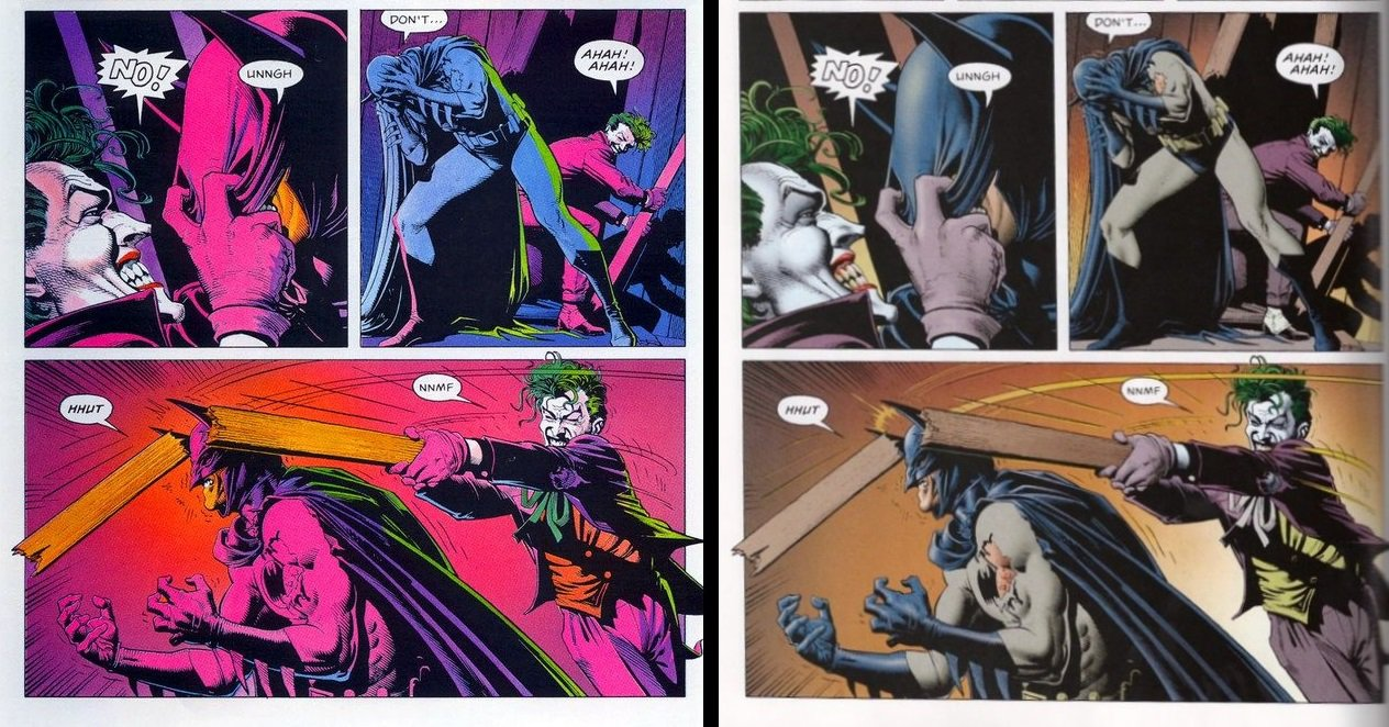 That fun-house color scheme on the left, by the way, is the 80s original, while the version on the right was remastered in the early 2000s. Not only does this show us something about how comics have evolved over the years, I think it shows us that the original comic was much more interested in portraying this whole thing as tragically absurd.